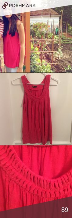 Bright Red Tunic Braided detailing on the neck and sleeves. Forever 21 Tops Tunics