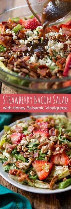 is, hands down, my favorite strawberry bacon salad. Always a crowd-pleaser and takes less than 20 minutes to prepare! This is, hands down, my favorite strawberry bacon salad. Always a crowd-pleaser and takes less than 20 minutes to prepare! Healthy Salads, Healthy Eating, Healthy Recipes, Tofu Recipes, Bacon Recipes, Salad Recipes With Bacon, Bratwurst Recipes, Sweets Recipes, Gourmet