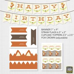 Instant Download  Fox Theme Birthday by CreativeUnionDesign, $16.00