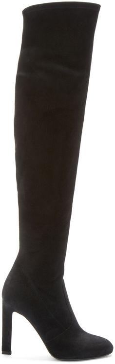 Saint Laurent - Black Suede Grace Over-the-Knee Boots