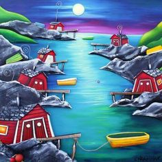 Calm Night in the Cove Acrylic Painting Inspiration, Sip N Paint, Newfoundland And Labrador, Home Art, Watercolor Paintings, Art Projects, Art Houses, Drawings, Outdoor Decor