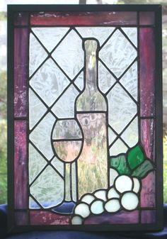 Stained Glass Wine Panel With Grapes by SwankyStainedGlass on Etsy