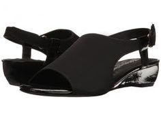 Walking Cradles Daphne (Black Micro/Black Patent) Women's Wedge Shoes
