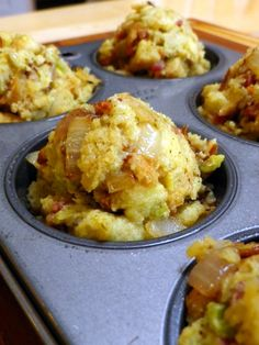 Mini Cornbread Dressing muffins - National Soul Food Month is June. Soul Food - Comfort Food - Food - Southern Food -  Feng Shui Your Next Event with a Feng Shui Design Consultation at www.DeniseDivineD.com/feng-shui-design - Get your FREE Feng Shui for Love Gift.