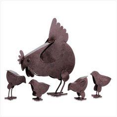 Metal Chicken Yard Art from KoehlerHomeDecor.com.  Adorable hen and chicks metal yard sculptures.   Buy wholesale at Koehler Home Décor.