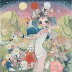 """Venerable Fox, the God of Abundance"" 2014 © Aya Takano/Kaikai Kiki Co., Ltd. All Rights Reserved. Pretty Art, Cute Art, Aya Takano, Cool Abstract Art, Moon Art, Japanese Artists, Look At You, Art Forms, Unique Art"