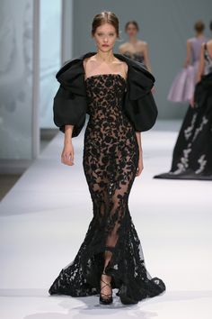 Fierce and Feared in a Sheer Black Laced Mermaid Gown with Black Bolero Jacket | http://brideandbreakfast.ph/2015/09/04/ralph-russo-ss-2015/ | Designer: Ralph Russo