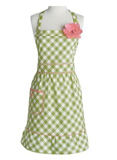Jessie Steele Apron Courtney Meadow Green Gingham. Love this!