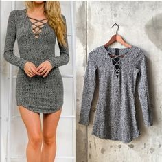 Lace up sweater bodycon mini dress. Brand new Brand new. Similar to LF style. Size is small but fits like X's LF Dresses Mini