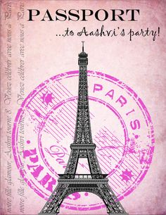 Party invitations I made for my daughter's Paris themed party! The inside is a boarding pass...coming up!