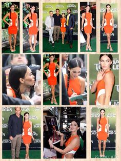 Actress Megan Fox certainly had heads turning when she arrived at the Sydney première of her new flick Teenage Mutant Ninja Turtles on Sunday.   The 28-year-old actress flashed some flesh in a bold orange cut-out dress at the event, held at Sydney's Fox Studios.  The fitted frock hugged the brunette beauty's figure, the revealing pattern showing off her taut waist - and the dark tattoo on her side that read 'There once was a little girl that never know love until a boy broke her heart'.