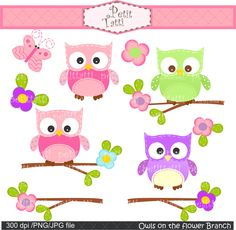 Digital clip art for all use,Owl on the flower branch, pink, green, purple.