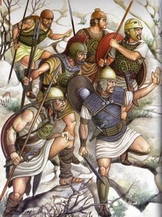 A raiding party of Iberian warriors. The warriors are waiting for the perfect moment to attack. They are wear different equipment, some based on Celtic models while other is purely Iberian. Some more equipment is Greek in origin. Art by Angel Garcia Pinto.