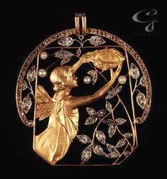 Art Déco - Pendentif - Or, Perles et Diamants - Masriera