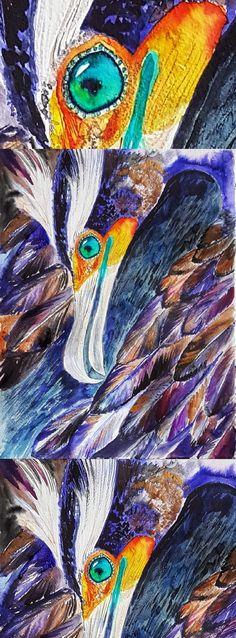 Double crested Cormorant, original watercolor painting, bird lovers gift, wildlife art, bird art, sea bird, #cormorant #american #wildlife #bird #birdlovergift #giftidea #giftforhim