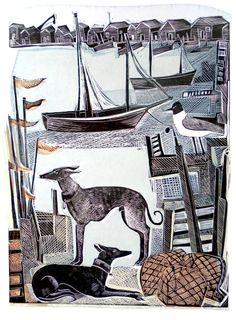 Harbour Whippets by Angela Harding, Medium Lino & Silkscreen Image Size 42 x 31 cm Edition Edition of 50 Linocut Prints, Art Prints, Dachshund, Greyhound Art, Wood Engraving, Print Artist, Dog Art, Printmaking, Illustration Art