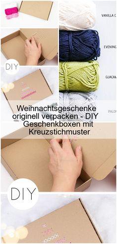 Geschenke für Weihnachten kreativ verpacken. Boxen mit Kreuzstich Muster besticken und verzieren. Eine einfache Pappschachtel besticken. DIY Dekoration zum Verschenken. #Kreuzstich #weihnachtsgeschenke #Verpackungsideen...,Weihnachtsgeschenke originell verpacken - DIY Geschenkboxen mit Kreuzstichmuster,  #DIY #Geschenkboxen #Kreuzstichmuster #mit #originell #verpacken #Weihnachtsgeschenke Diy Decoration, Boxing, Creative