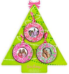 Lilly Pulitzer Christmas Photo Ornaments - GirlyTwirly.com
