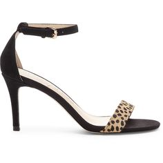 Sole Society Dace Ankle Strap Heeled Sandal ($75) ❤ liked on Polyvore featuring shoes, sandals, leopard black, ankle wrap sandals, leopard print sandals, black shoes, ankle strap heel sandals and ankle strap sandals