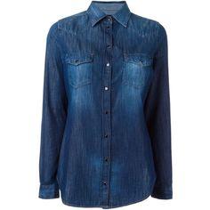 Diesel Western Denim Shirt (1.035 BRL) via Polyvore featuring tops, shirts, blue, diesel shirts, shirts & tops, blue denim shirt, western tops and cowgirl tops