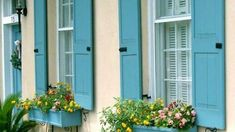 Colorful shutters with window boxes painted to match can brighten up the exterior of your home and add some serious curb appeal. French Door Shutters, Small Shutters, Types Of Shutters, Window Shutters Exterior, Blue Shutters, Interior Shutters, Exterior Paint Colors, Exterior House Colors, Cream Colored Houses