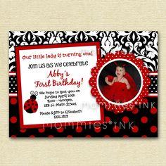 Ladybug Invitation, Ladybug Birthday Invitation, Damask Invitation, Little Lady Invitation, Ladybug Birthday Party Invitation, DIY by MommiesInk on Etsy https://www.etsy.com/listing/70595744/ladybug-invitation-ladybug-birthday