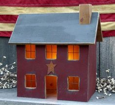 Raystown Primitives - Lighted Wood Houses that are primitive Primitive Wood Crafts, Country Primitive, Wooden Crafts, Wooden Diy, Saltbox Houses, Bird Houses, Wooden Houses, Putz Houses, Doll Houses