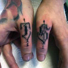 Modern Lettering Male Thumb Tattoos