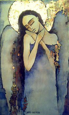 AMARANT-ART Angel Artwork, Angel Paintings, Spiritual Paintings, Turkish Art, Picture On Wood, Art Installation, Sacred Art, Love Painting, Art Sketchbook