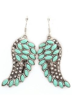 One day Ill be able to wear these: Turquoise Angel Wing Earrings ♥