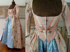 Robe a l'Anglaise & Quilted Petticoat c.1780 Antique Silk Brocade Dress Gown