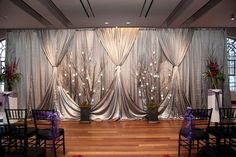 Thankscurtain, pipe and drape wedding ceremony back drop awesome pin - use warm color in background vs. silver