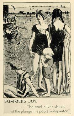 1924 Print Laura Knight Mini Poster Art Swimming Child Beach Undergrou - Period Paper