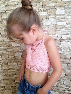 Powder crochet toddler top/ Baby toddler bra/ Hippie crochet top/ Crochet crop top/ Lace toddler top/ Beach summer crochet top/ Bohemian top