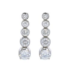 Round Diamond 5 Stone Drop Friction Post Earrings In White Gold