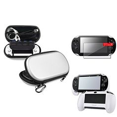 Insten Silver EVA Case Cover + White Hand Grip + Clear Screen Protector Compatible With Sony PS Vita PSV  Valued Combo includes: 1 x White Hand Grip + 1 x Reusable Screen Protector + 1 x Silver Eva Case  Gain 30 day money back guaranteed if you purchase with eForCity®.  Accessory only. Device is not included.  All rights reserved. All trade names are registered trademarks of respective manufacturers listed.