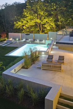 Contemporary Pool by Wagner Hodgson | Retaining wall. Retaining walls built taller than 3 feet will require a permit and should be built with the aid of a landscape architect or engineer, to ensure that the hydrostatic pressure caused from the earth and water behind the wall is calculated correctly.