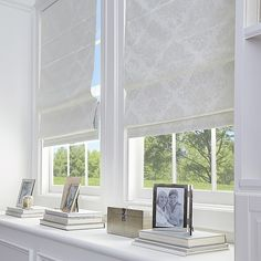 Shop for Damask Room Darkening Roman Shade. Get free delivery On EVERYTHING* Overstock - Your Online Home Decor Outlet Store! Home Office, Room Darkening Shades, Bathroom Window Treatments, Window Treatments Living Room Curtains, Large Window Treatments, Bathroom Windows, Cordless Roman Shades, Modern Windows, Living Room Windows