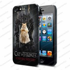 cat game of thrones inspired parody cute cat - iPhone Case iPhone 4 Case iPhone 4S Case iPhone 5 Case iPhone 4 / 4S / 5 Case Hard Cover on Etsy, $15.89