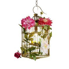 Whimsical gold bamboo bird cage with faux garden flowers and yellow finch. Wired for use as a hanging lantern for the special location. Comes with three feet of chain and plate. Shabby Chic Crafts, Shabby Chic Cottage, Cottage Farmhouse, Diy Painting, Painting On Wood, Hanging Lanterns, Ideas Lanterns, Yellow Finch, Hanging Bird Cage