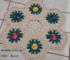 Tapete Colorido Hexagonal em Crochê