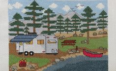 """Camp Cross Stitch - """"Camping by the Lake with Trailer"""" - Pattern or Kit"""