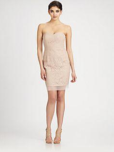 BCBGMAXAZRIA - Strapless Lace Dress