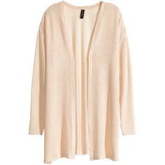 H&M Knitted cardigan ($6.15) ❤ liked on Polyvore featuring tops, cardigans, outerwear, sweaters, powder beige, long tops, pink top, rayon cardigan, beige cardigan and h&m