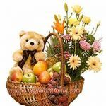 Exotic 3 Kg Fresh Fruits Basket (Seasonal fruits) with 15 mixed flowers arranged in the cane basket + 1 Huggable Teddy inch large). Cane Baskets, Gift Baskets, Teddy Bear Cartoon, Teddy Bears, Send Roses, International Flower Delivery, Send Flowers Online, Teddy Bear Gifts, Fruit Gifts