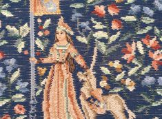 Rare vintage Lady and the Unicorn trammed needlepoint kit on a blue ground by KindredClassics on Etsy Needlepoint Kits, Needlepoint Canvases, Royal Blue Background, Medieval Tapestry, English Roses, Woman Face, Daffodils, Beautiful Hands, Hand Stitching