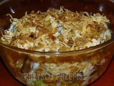 Sałatk z prażona cebulka Salad with roasted onions Mashed Potato Balls Recipe, Delicious Dinner Recipes, Yummy Food, One Pot Meals, Easy Meals, Chicken Parmesan Pasta, Raw Breakfast, White Sauce Pasta, Roasted Onions