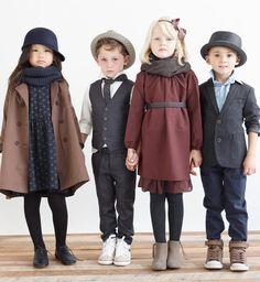 Girl's blue dress and brown coat, maroon dress, boy's vest and blazer - Via Hello Alyss