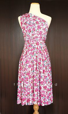 e4935435423 Pink Floral Bridesmaid Convertible Dress Infinity by thedaintyard
