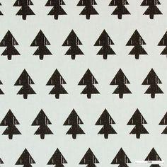 Baumwolle, Offwhite mit anthrazit Bäumen - Stoff & Stil